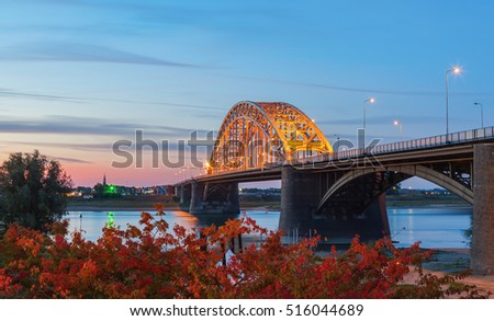 Beautiful construction of Waal bridge at sunset, Nijmegen Netherlands