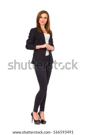 Beautiful consultant woman waiting. Full length studio shot isolated on white.