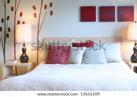 Beautiful contemporary bedroom. - stock photo