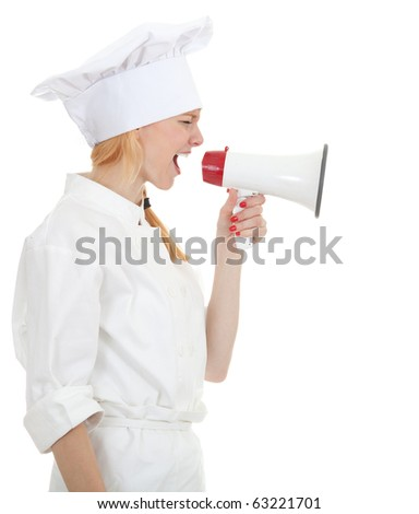 beautiful cook woman in white uniform and hat, shouting through megaphone - stock photo