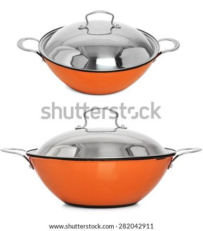 Beautiful cooking pot. Set of 2 pans. - stock photo