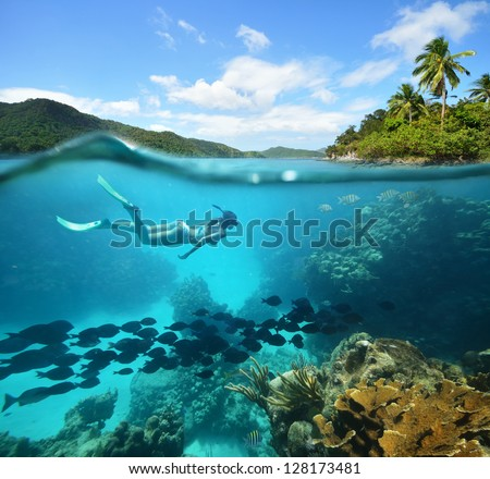 Beautiful Coral reef with lots of fish and a woman floating in the sea - stock photo