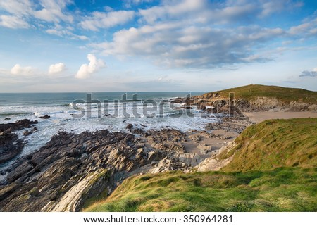 Beautiful Cornish coastline of the Towan headland at Newquay - stock photo