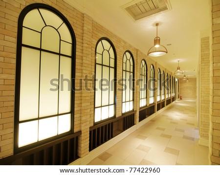 Beautiful corridor in modern building - stock photo