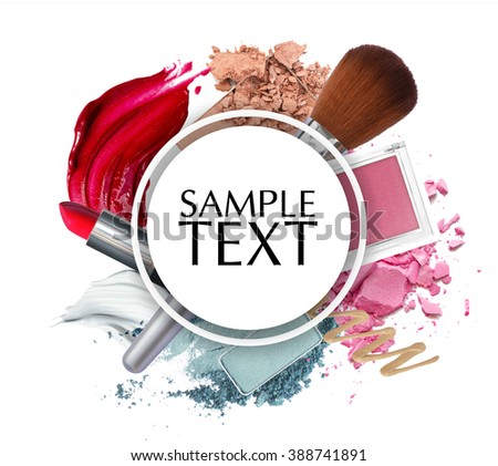 beautiful cosmetic promotion circle frame - stock photo