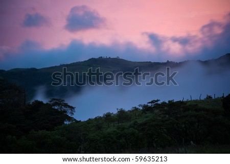 Beautiful Costa Rica evening sunset near Monteverde - stock photo