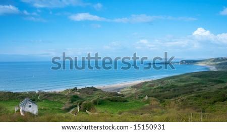 Beautiful costal seashore from northern Ireland Uk - stock photo