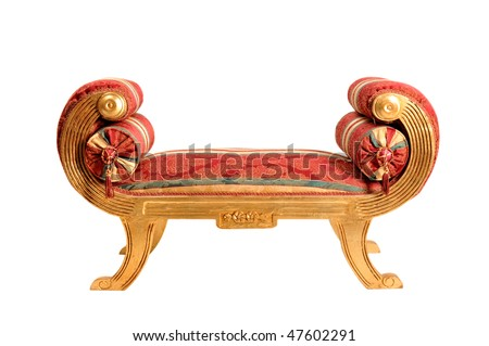 Beautiful couch icolated on white background. Clipping path. - stock photo
