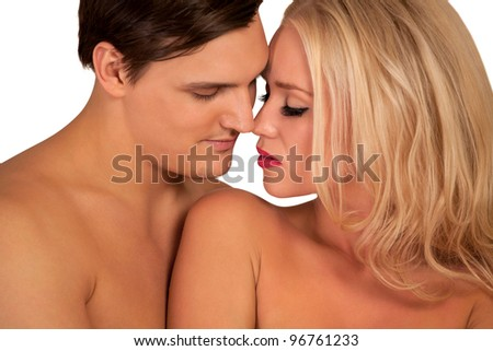 Beautiful couple about to kiss - stock photo