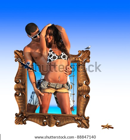 Beautiful couple going ot of the frame travel concept - stock photo