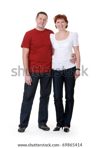 beautiful couple hugging on a white background - stock photo