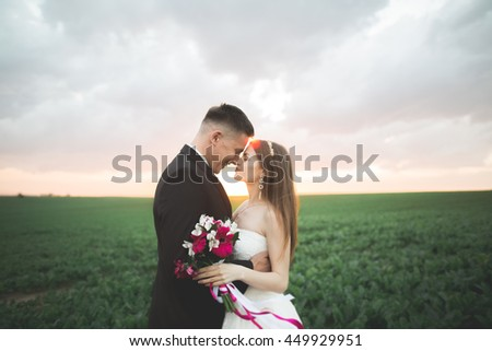 Beautiful couple in field, Lovers or newlywed posing on sunset with perfect sky