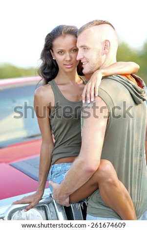 beautiful Couple in love on summer beach - stock photo