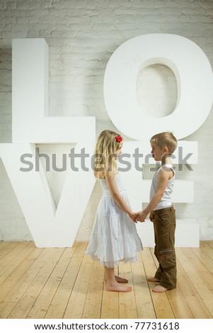 Beautiful couple - love background - stock photo