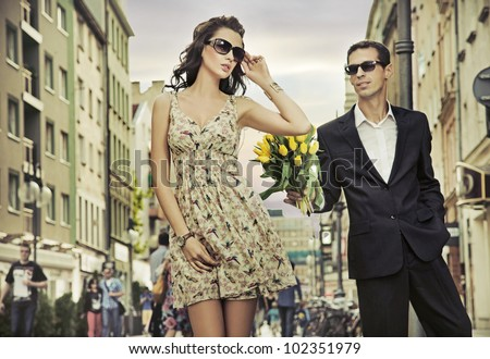 Beautiful couple on a date - stock photo