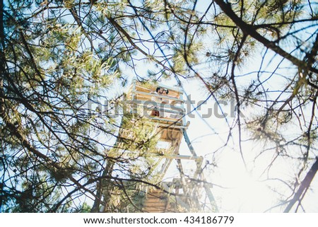 Beautiful couple on lookout tower
