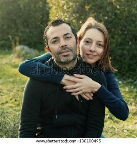 Beautiful couple, retro style - stock photo