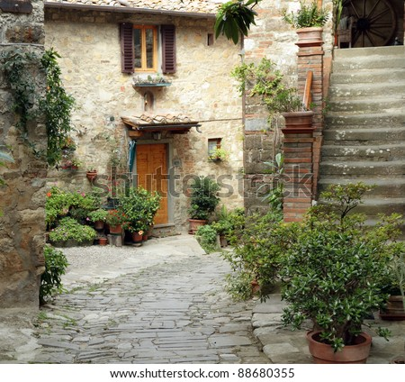 beautiful courtyard in tuscan medieval village Montefioralle near Greve in Chianti , sometimes claimed to be the birthplace of Amerigo Vespucci, Greve in Chianti,Tuscany, Italy, Europe   Italy, Europe - stock photo