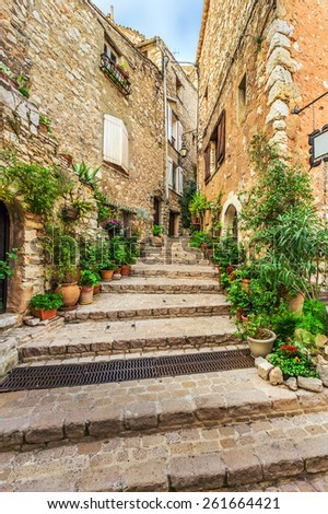 Beautiful courtyard of the old town - stock photo