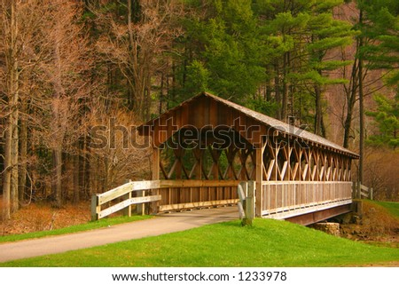 Beautiful covered bridge found in NYS - stock photo