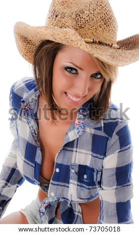 Beautiful Cowgirl Smiling - stock photo