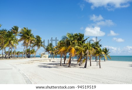 Beautiful Crandon Park Beach in Miami. Florida. - stock photo