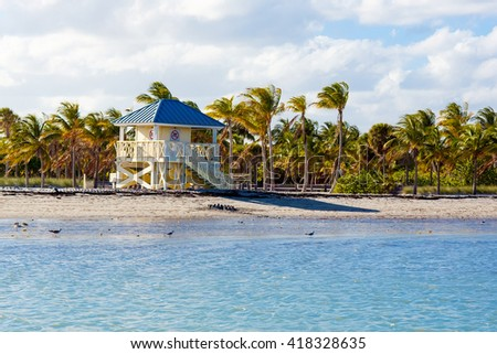 Beautiful Crandon Park Beach located in Key Biscayne in Miami, Florida, USA - stock photo