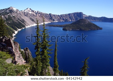 Beautiful Crater Lake in southern Oregon - stock photo
