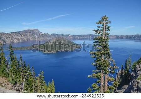 Beautiful Crater lake, Oregon, USA - stock photo