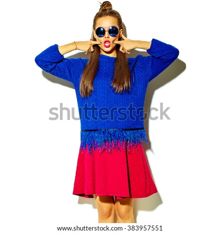 beautiful crazy smiling brunette woman girl in casual hipster summer colorful clothes with red lips isolated on white  in sunglasses  - stock photo