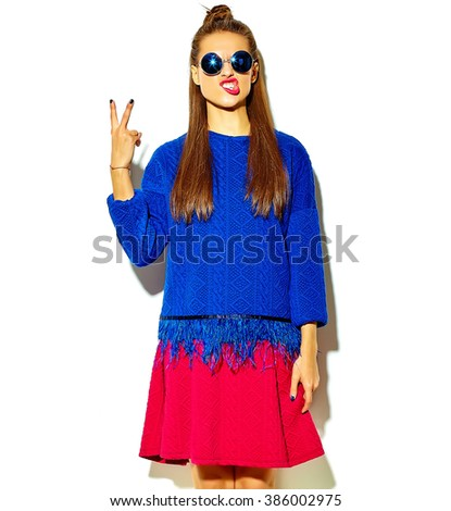 beautiful crazy smiling brunette woman girl in casual hipster summer colorful clothes with red lips isolated on white  in sunglasses making funny face - stock photo