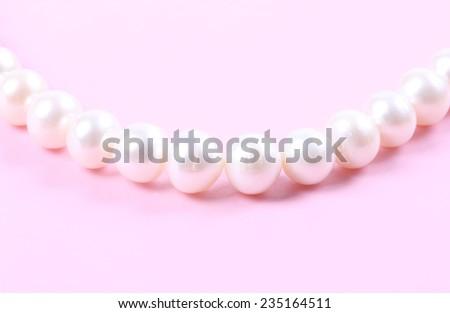 Beautiful creamy pearl necklace - stock photo
