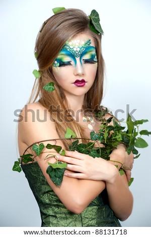 beautiful creative fashion makeupdryadrmaid  stock photo