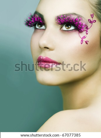 Beautiful Creative Fashion Makeup.Holiday Make-up - stock photo