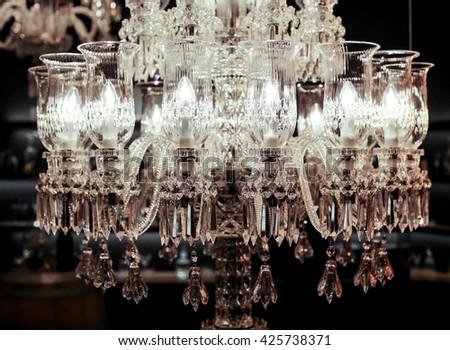 Beautiful crystal chandeliers - stock photo