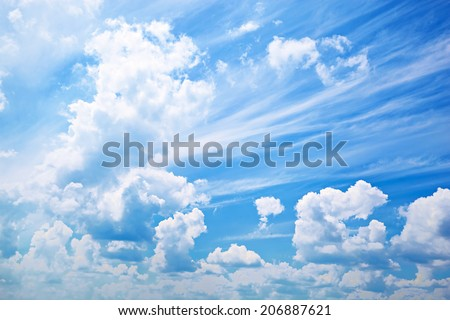 Beautiful cumulus clouds. Abstract sky background. - stock photo