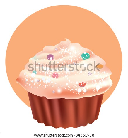 Beautiful cup cake - stock photo