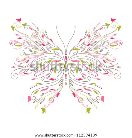Beautiful curl butterfly card raster version - stock photo
