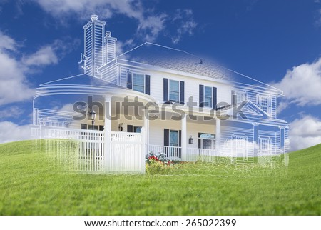 Beautiful Custom House Design Drawing and Ghosted House Appearing Above Green Grass Field. - stock photo