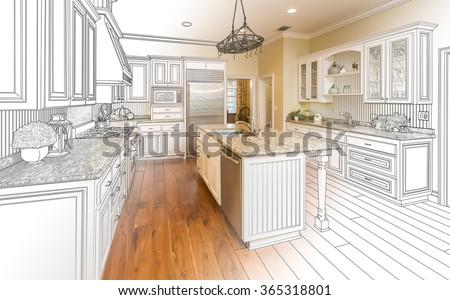 Beautiful Custom Kitchen Design Drawing and Gradated Photo Combination. - stock photo