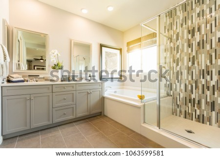 Beautiful Custom Master Bathroom Stock Photo Royalty Free Custom Beautiful Master Bathrooms Property