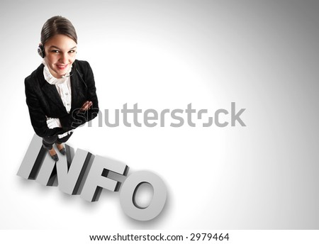 Beautiful Customer Representative with headset wide angle on 3d 'info' sign - stock photo