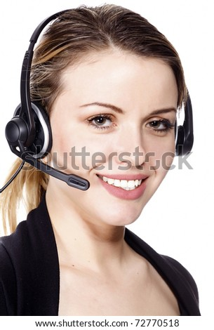 Beautiful customer service operator woman with headset, isolated on white background. - stock photo