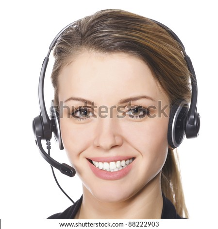 Beautiful customer service operator woman with headset, isolated on white background - stock photo
