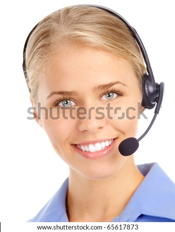 Beautiful  customer service operator woman with headset. Over white background - stock photo