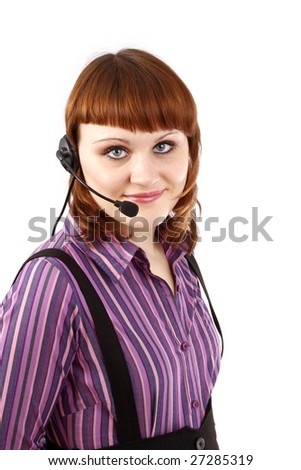 Beautiful customer support girl.  Call center operator. Telephone operator. - stock photo