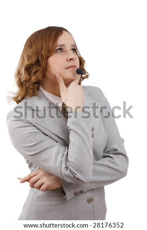 Beautiful customer support girl.  Confident woman with headset.  Call center operator. Telephone operator. Successful business woman is thinking about something. Isolated over white background. - stock photo