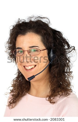 Beautiful customer support girl on white background