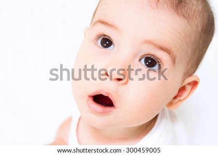 Beautiful cute baby on white background