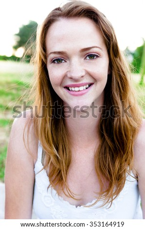 Beautiful cute carefree summer girl portrait, outdoors in park - stock photo